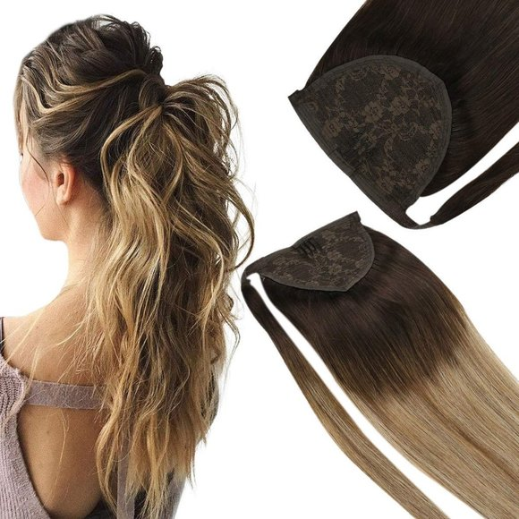 "14"" Human Hair Ponytail Extension Wrap Ombre Brown"